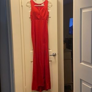 Women's Red Gown with Slit and Lace sides